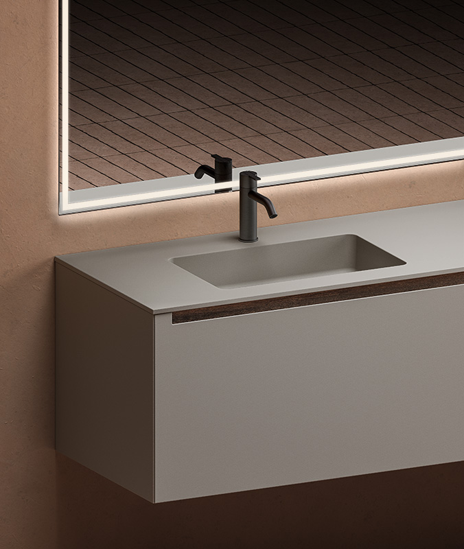 grey UHS colour coating top with integrated washbasin