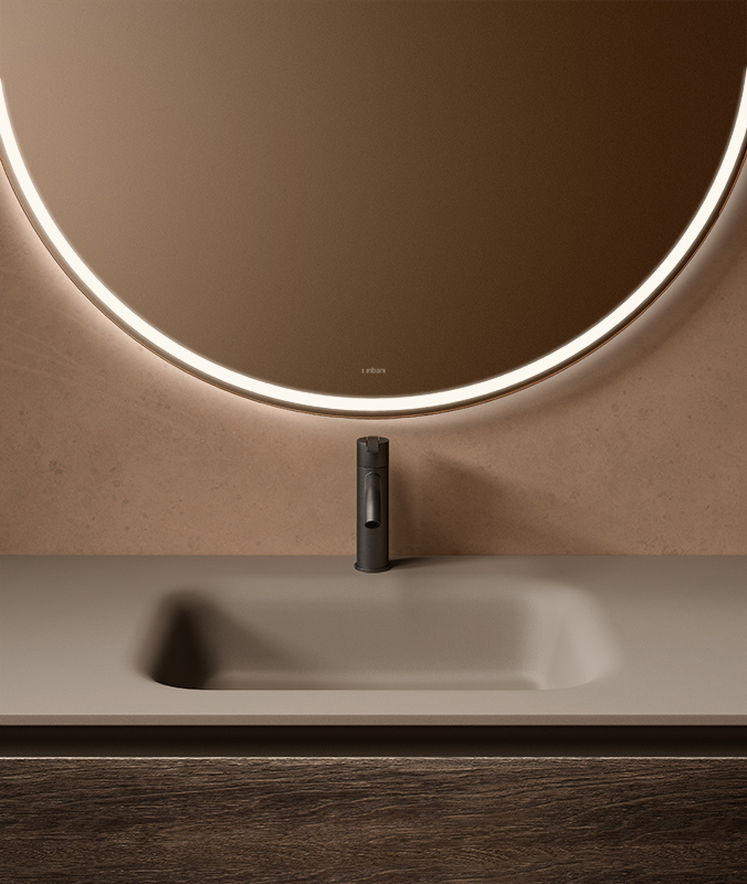 Wood strato h unit with grey uhs colour coating top with integrated washbasin