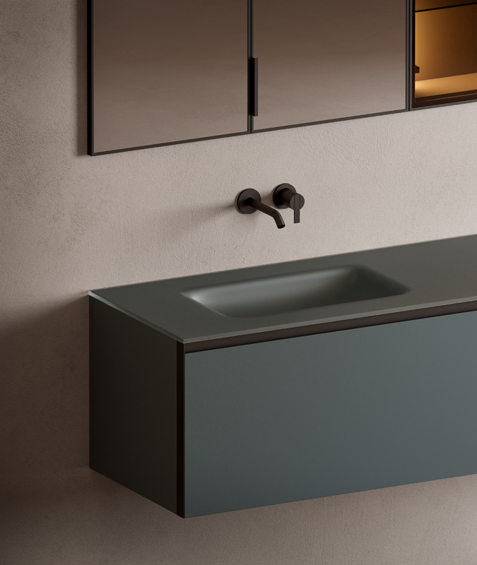 glass top with integrated washbasin from senio collection