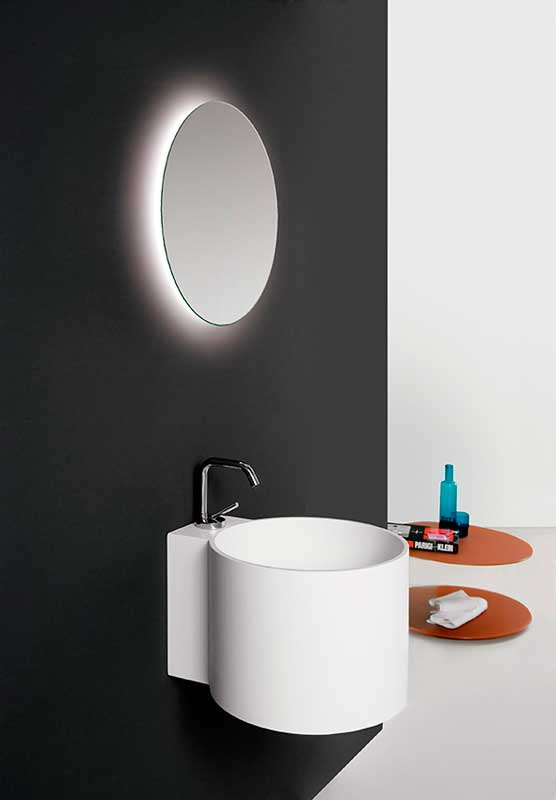 Minimal white washbasin with mirror Tambo collection Inbani