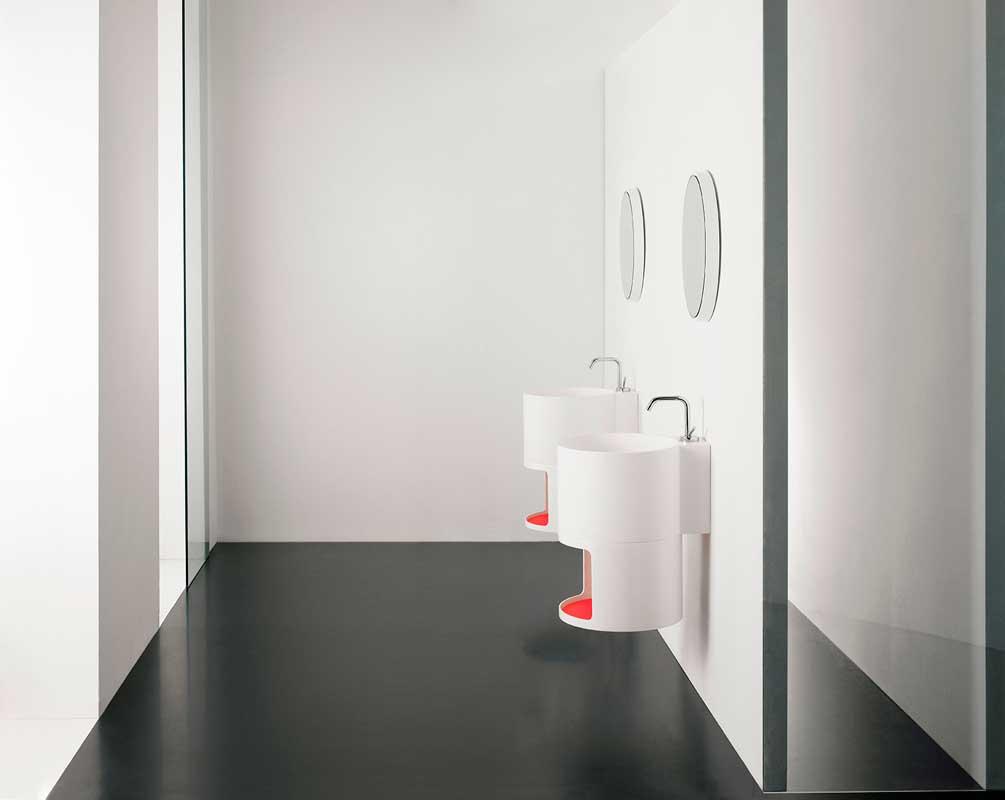 Minimal white washbasins with mirrors Tambo collection Inbani