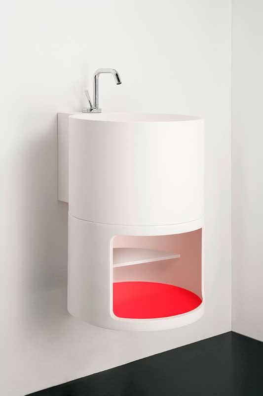 Minimal white washbasin Tambo collection Inbani