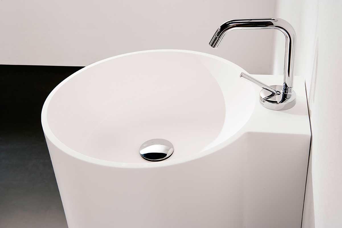 Minimal white washbasin detail Tambo collection Inbani