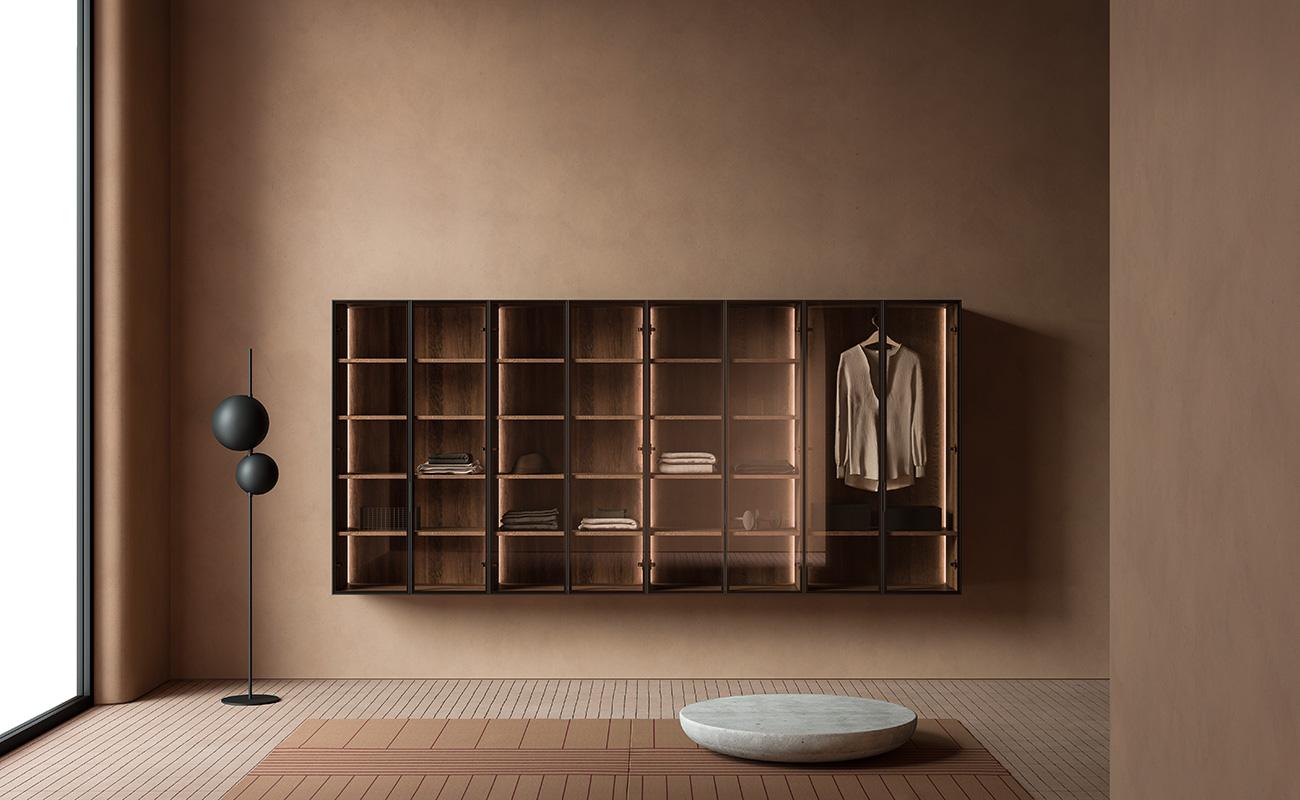 Strato metallic black profile cabinets with glass doors