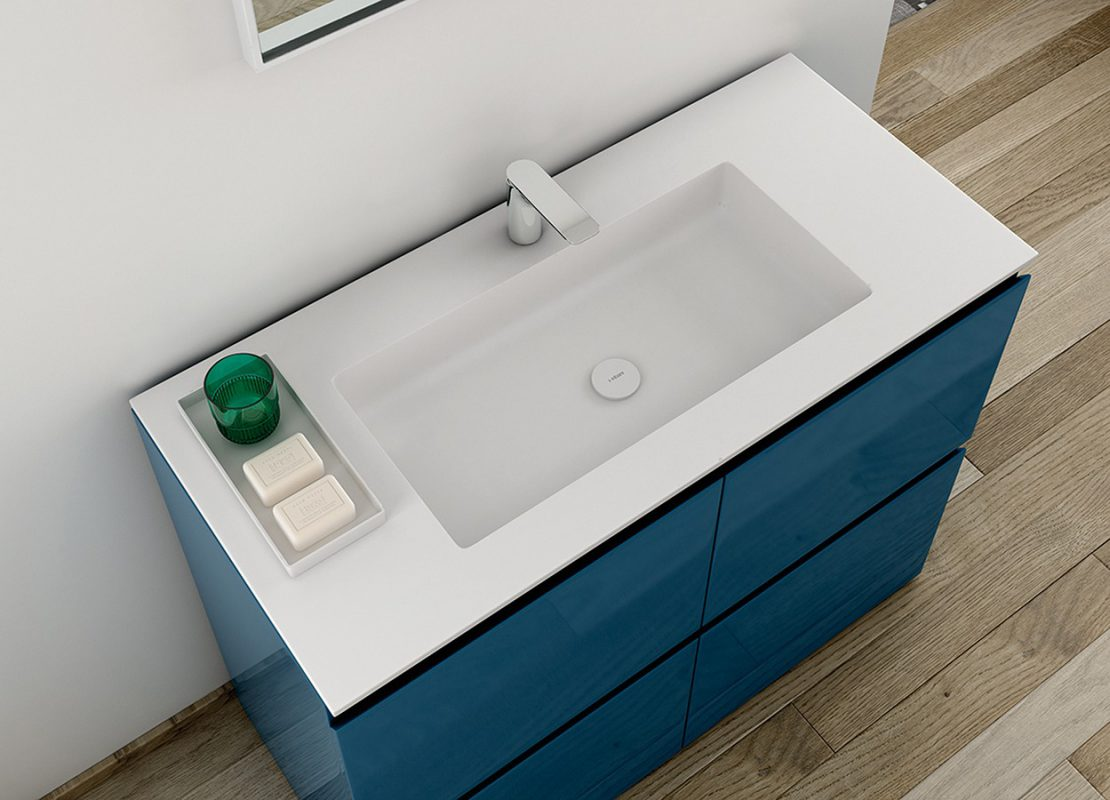H5 Solidsurface Integrated Washbasin Worktop
