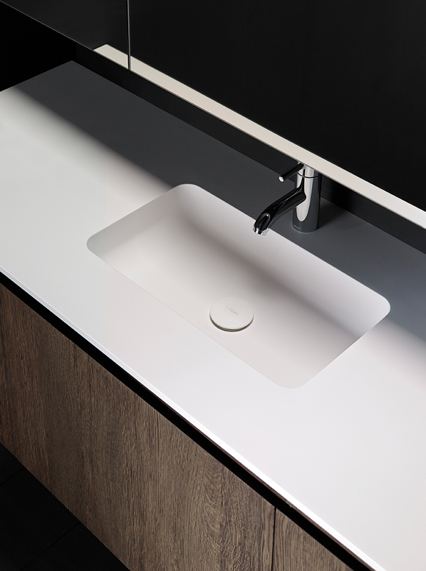H6 Solidsurface Integrated Washbasin Worktop