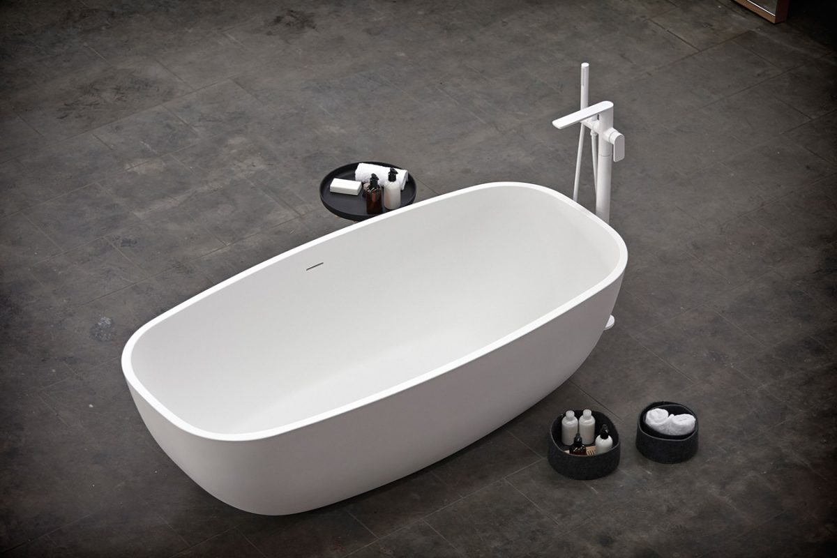White solidsurface freestanding bathtub from temple collection