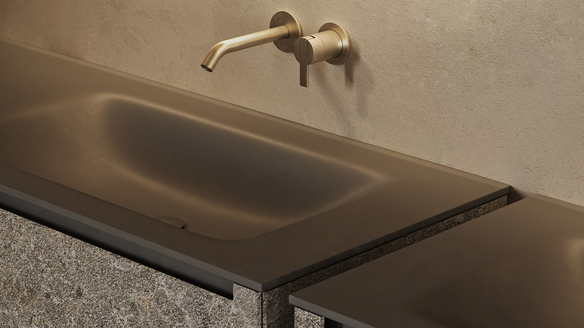 D1 top with integrated washbasin in corian® finish
