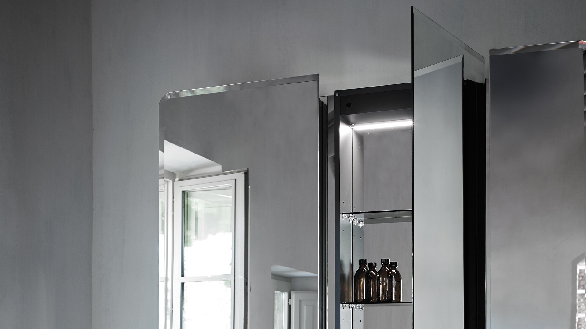 Wall mounted mirror cabinet unit from Origin collection