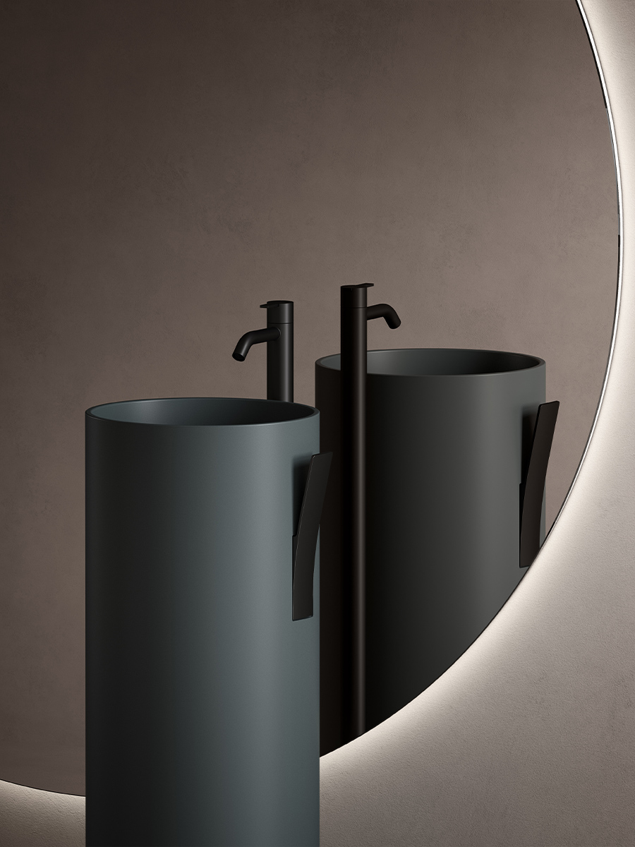 Giro collection ambient detail with 2 UHS colour coating washbasins