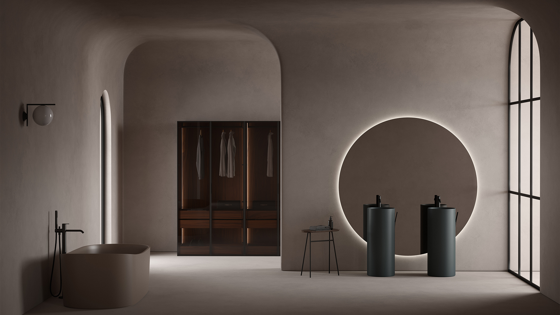 Giro collection ambient with 2 UHS colour coating washbasins