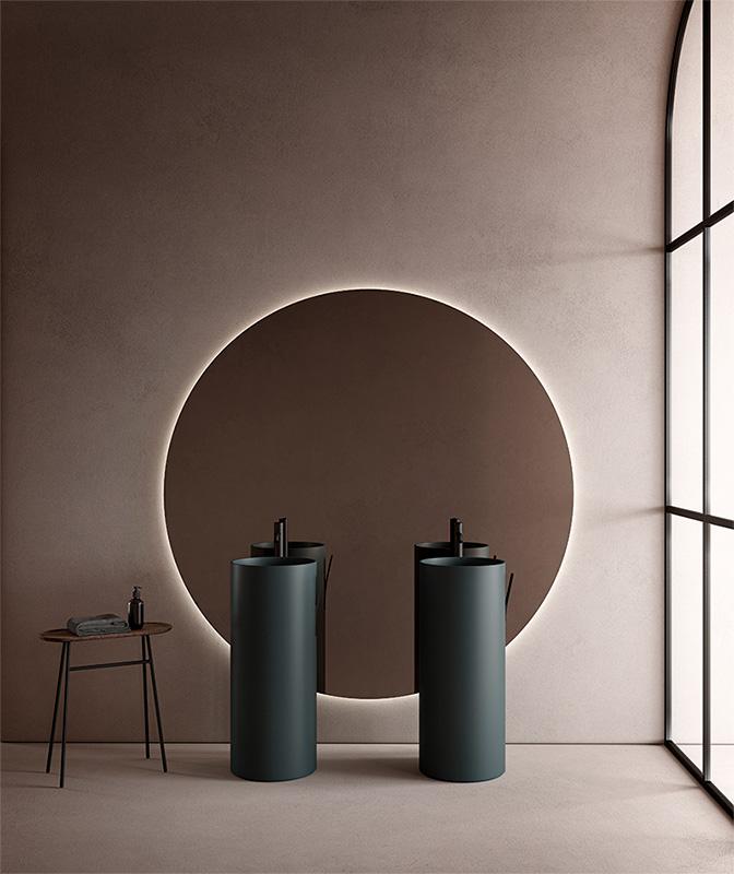Blue USH colour coating freestanding washbasin from giro collection