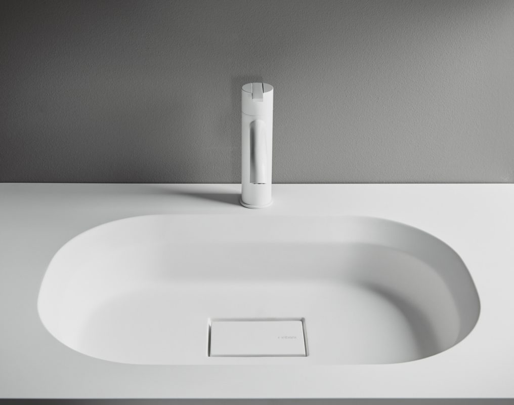 Cube Solidsurface Integrated Washbasin Worktop