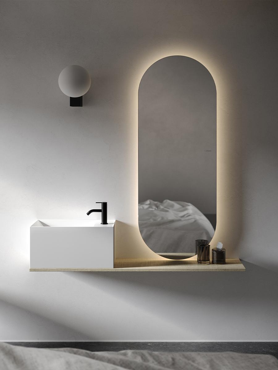 Facett minimal collection washbasins and mirrors Inbani