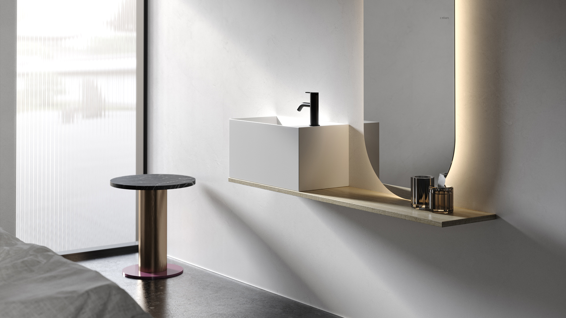 Facett collection ambient with washbasin and mirror