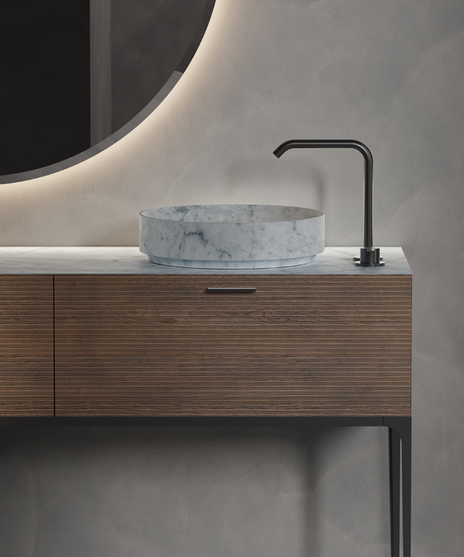 white carrara marble top mounted washbasin from arc collection
