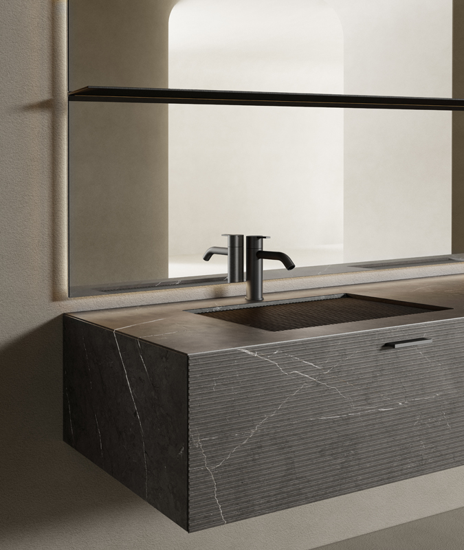 GT50 pietra grey marble top integrated washbasin