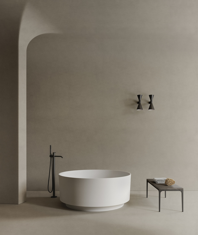 Rounded solidsurface bathtub from Arc colletion