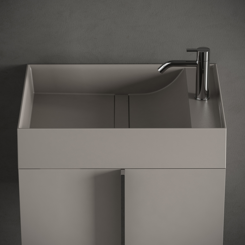 grey uhs colour coating top washbasin with furniture unit from paral collection