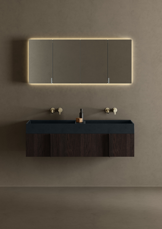 blue uhs colour coating top washbasin with furniture unit from paral collection