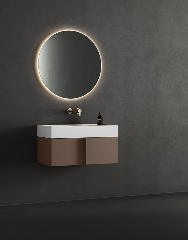 solidsurface top washbasin with furniture unit from paral collection