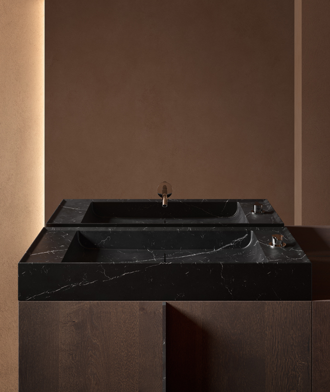 Black marquina marble top washbasins with furniture unit from paral collection
