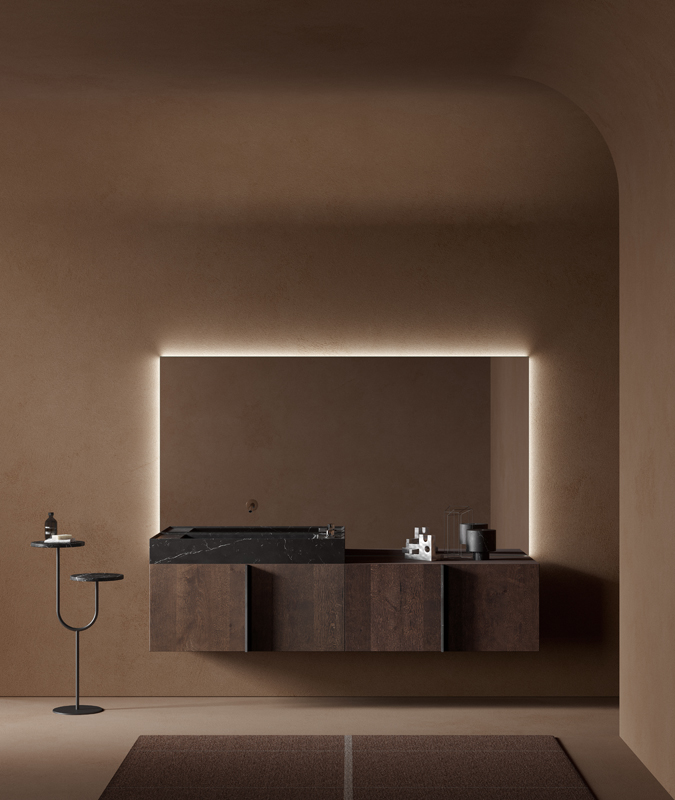 Black marquina marble freestanding washbasins with furniture units from paral collection