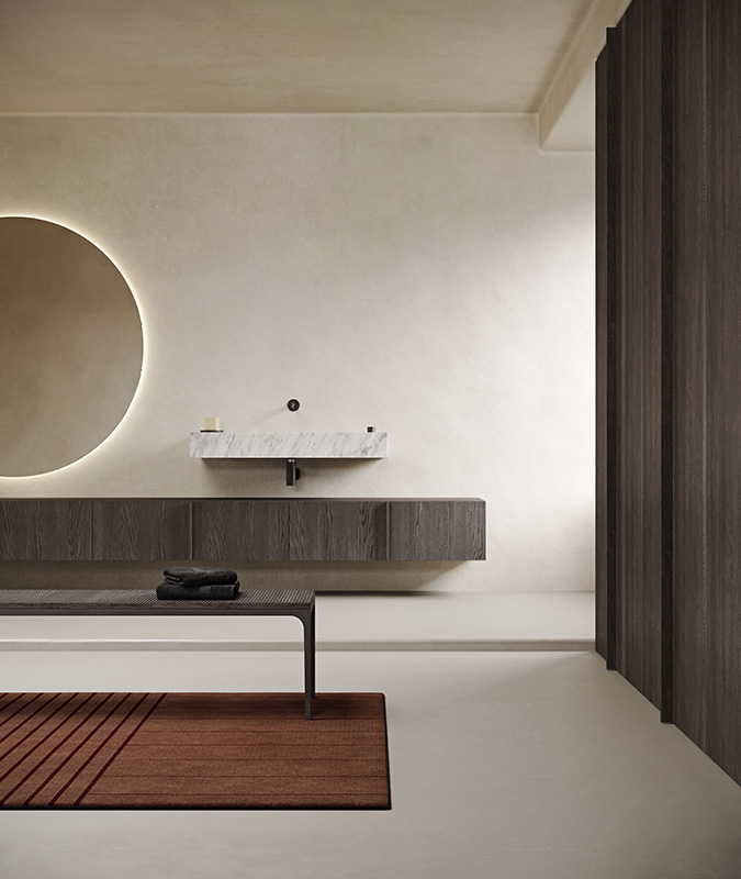 White marble carrara freestanding washbasins with furniture units from paral collection