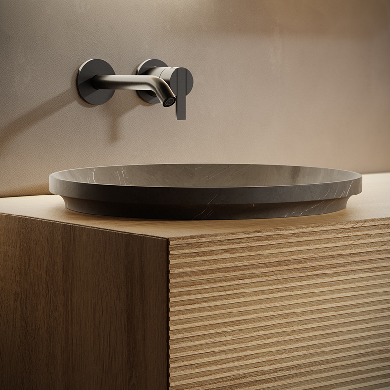 pietra grey marble semi-inset washbasin from arc collection