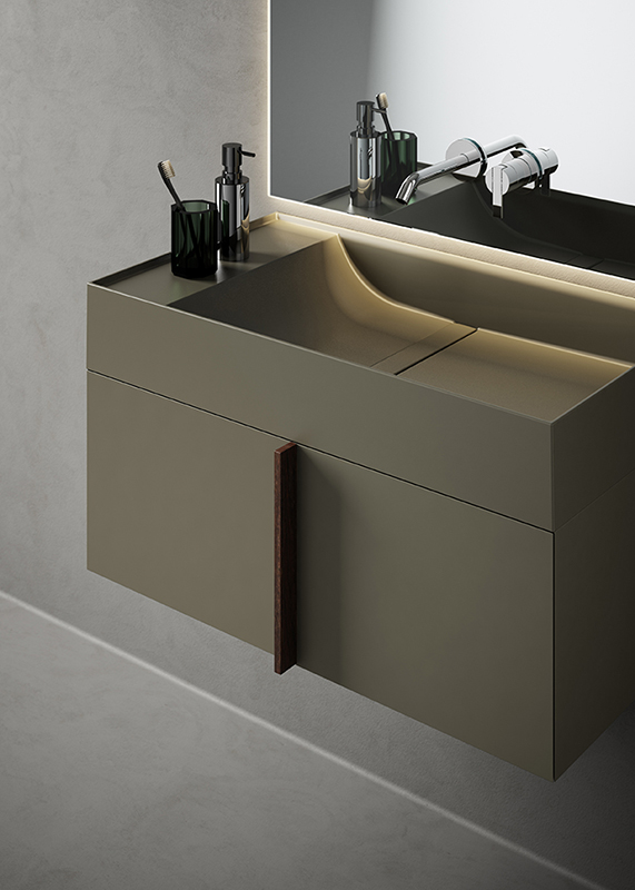 green uhs colour coating top washbasin with furniture unit from paral collection