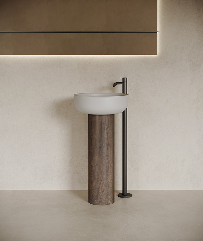 Prime freestanding washbasin in wood and UHS colour coating